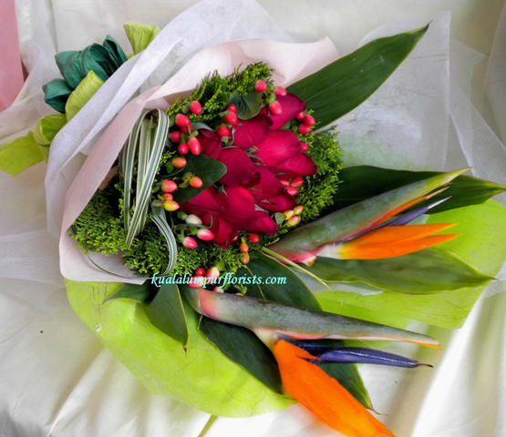 KLHB8875 (Red roses & bird of paradise)