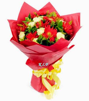 KLHB8690 (Red geberas & white carnations)