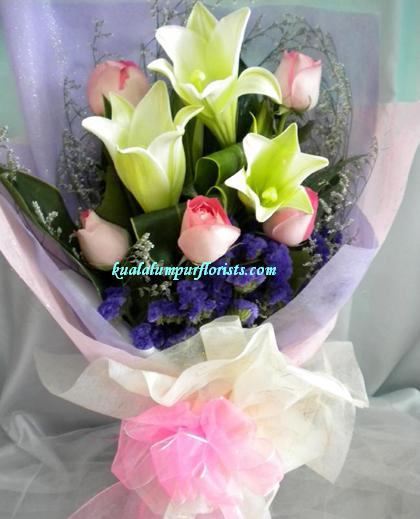 KLHB7700 (Pink roses & lilies)