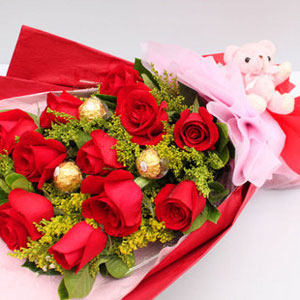 KLHB7390 (Red roses & choco)